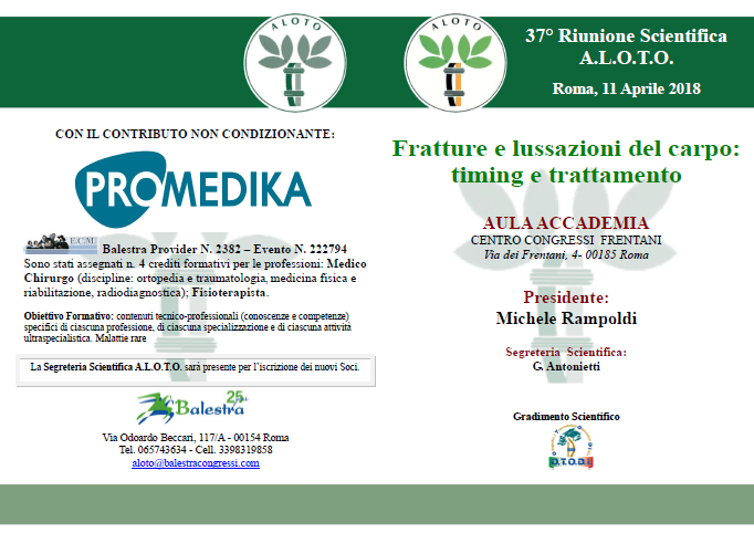 37° Riunione Scientifica A.L.O.T.O. Roma, 11 Aprile 2018