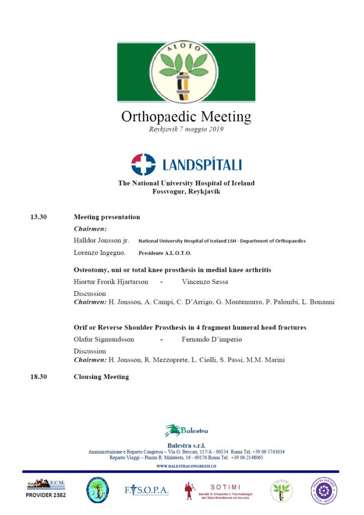Orthopaedic Meeting – Reykjavik 7 maggio 2019