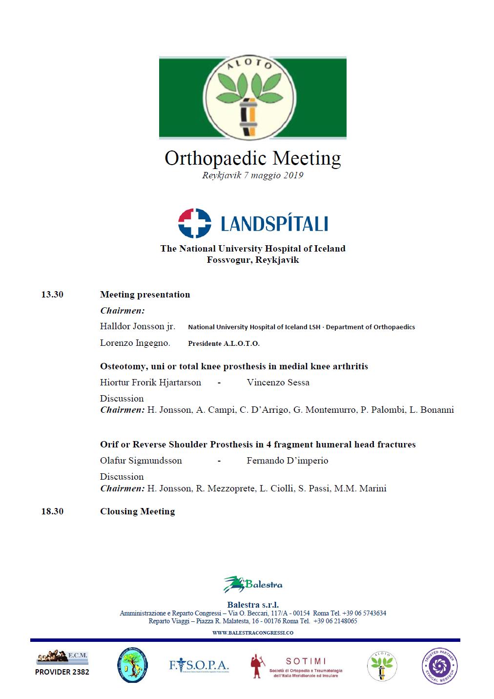 Orthopaedic Meeting - Reykjavik 7 maggio 2019