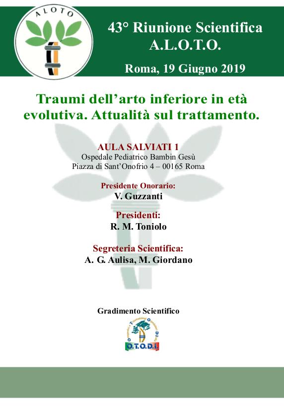 19 GIU | Traumi dell'arto inferiore in età evolutiva. Attualità sul trattamento