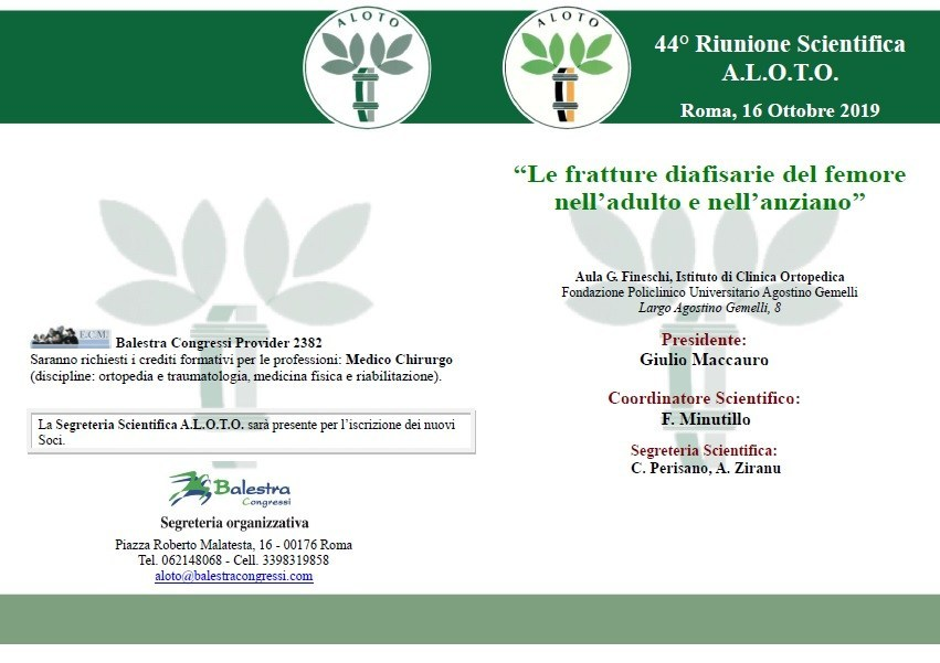 16 OTT | 44° Riunione Scientifica A.L.O.T.O.